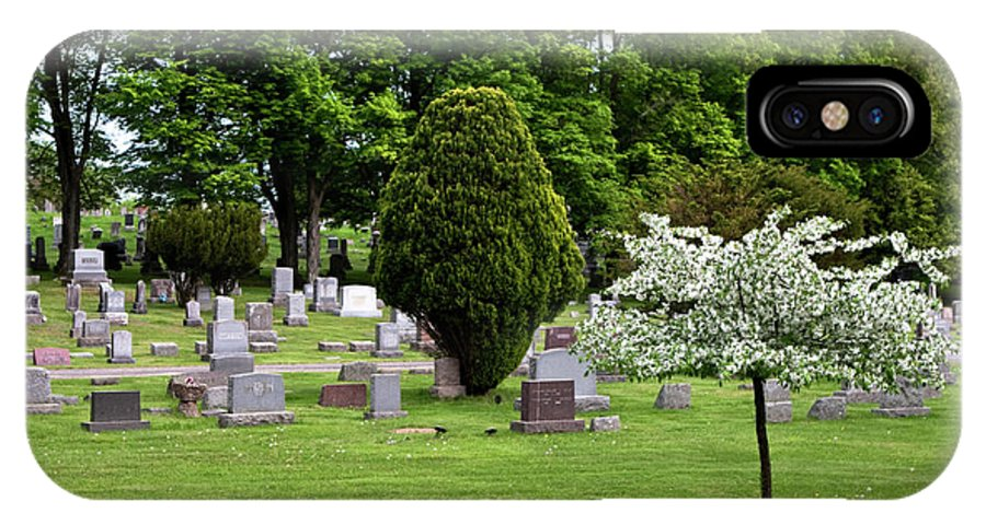 White Flowering Tree IPhone X / XS Case featuring the photograph White Tree In Cemetery by Lorraine Devon Wilke