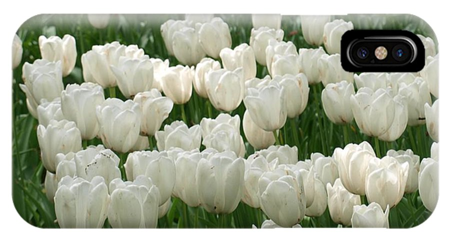 Flowers IPhone X Case featuring the photograph White Tulips 2 by Larry Krussel