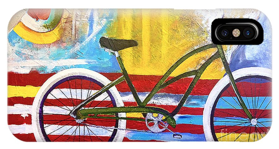 Bikes IPhone X Case featuring the painting White Wall Tires by Nancy Hilliard Joyce