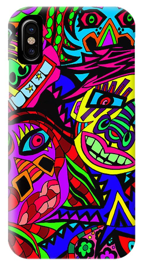 Crowds IPhone X / XS Case featuring the painting Who Do You See When Facing A Mirror by Karen Elzinga