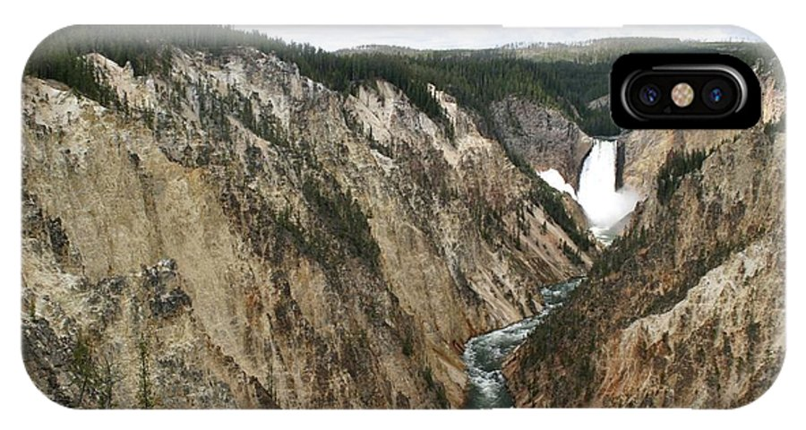 Lower Falls IPhone X Case featuring the photograph Wide View Of The Lower Falls In Yellowstone by Living Color Photography Lorraine Lynch