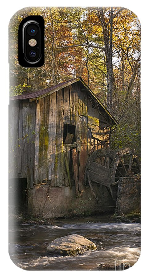 Mill; Grist Mill; Historic; Georgia; Rabun County; Creek; Stream; Rapids; Fall Colors; Ruins; Archaeology; Landscape; Seasonal Color IPhone X Case featuring the photograph Wilbanks Mill On Dicks Creek by John Arnaldi