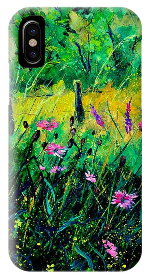 Flowers IPhone X Case featuring the painting Wild Flowers 451190 by Pol Ledent