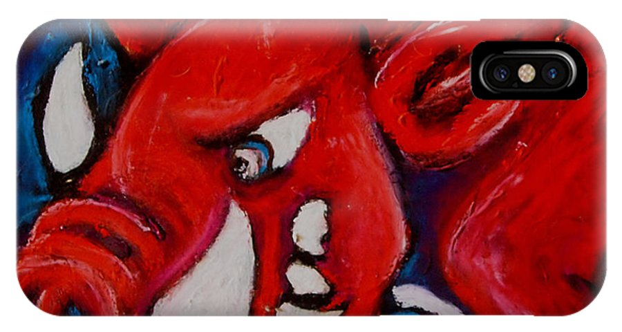 Arkansas Razorbacks IPhone X Case featuring the painting Wild Hog by Laura Grisham