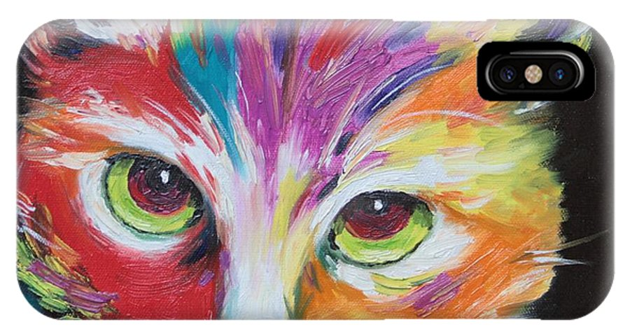 Cat IPhone X Case featuring the painting Wild One by Jane Mick