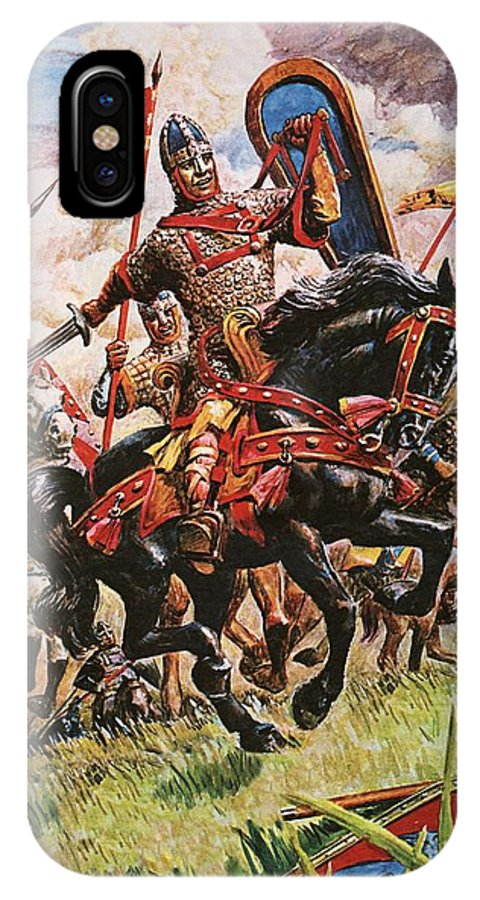 William The Conqueror; King William I; 1066; Normans; Armour; Knights; Invasion; Duke William; England; Battle Of Hastings; Hastings IPhone X Case featuring the painting William The Conqueror At The Battle Of Hastings by Peter Jackson