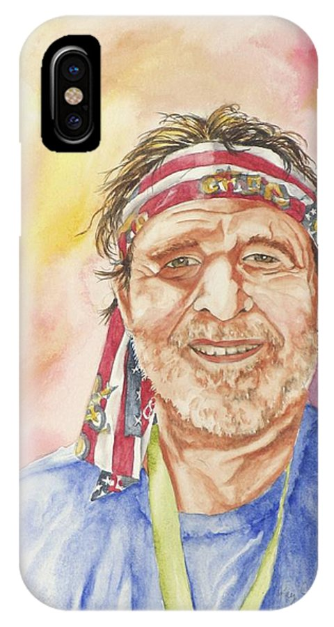 Portrait IPhone X Case featuring the painting Willie Wanna-be by Kay Johnson