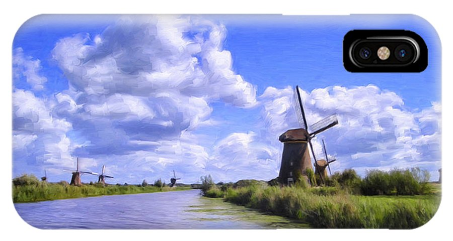 Windmills IPhone X Case featuring the painting Windmills In Holland by Dominic Piperata