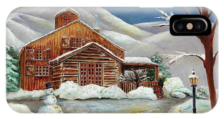 Landscape IPhone X / XS Case featuring the painting Winter At The Cabin by Portraits By NC