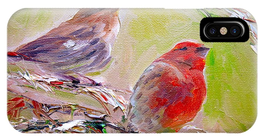 Birds IPhone X Case featuring the painting Winter Finches by Sarah Jane Conklin