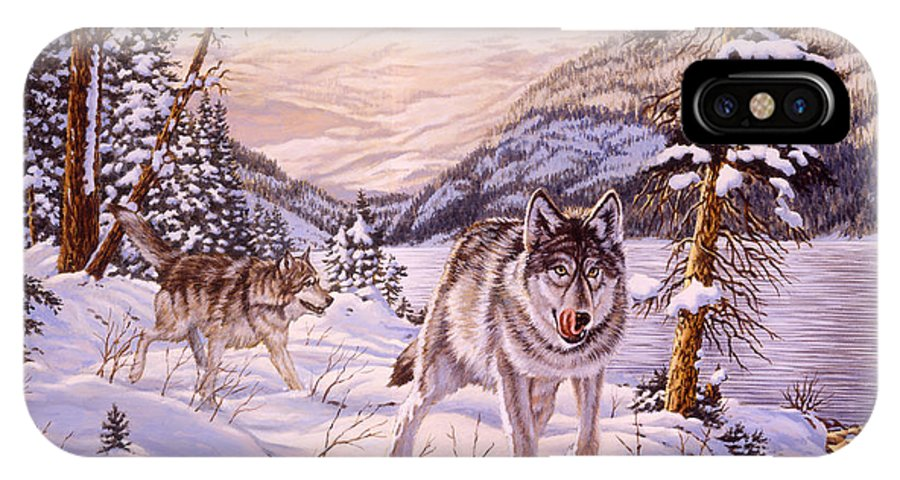 Wolf IPhone X Case featuring the painting Winter Hunt by Richard De Wolfe