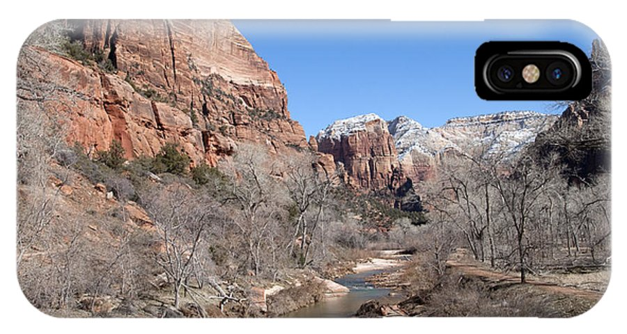 Landscape IPhone X Case featuring the photograph Winter In Zion by Bob and Nancy Kendrick