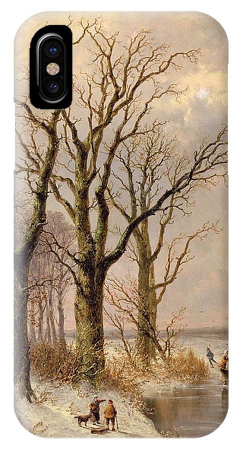 Snow; Toboggan IPhone X Case featuring the painting Winter Landscape With Faggot Gatherers Conversing On A Frozen Lake by Josephus Gerardus Hans