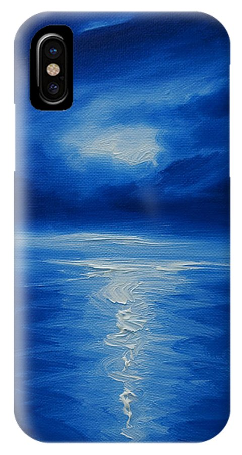 Nature; Lake; Sunset; Sunrise; Serene; Forest; Trees; Water; Ripples; Clearing; Lagoon; James Christopher Hill; Jameshillgallery.com; Foliage; Sky; Realism; Oils; Moon; Moonlight; Reflection; Blue; Lapis; Colbalt Blue IPhone X Case featuring the painting Winter Moon Vi by James Christopher Hill