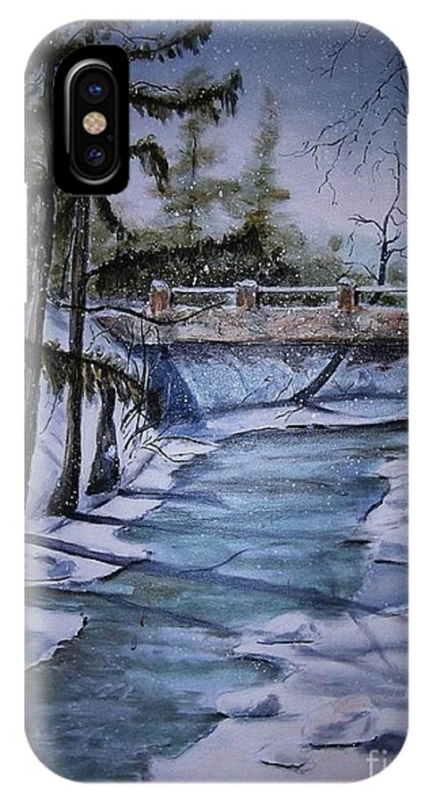 Snow Scene IPhone X / XS Case featuring the painting Winter Solitude by Marylyn Wiedmaier
