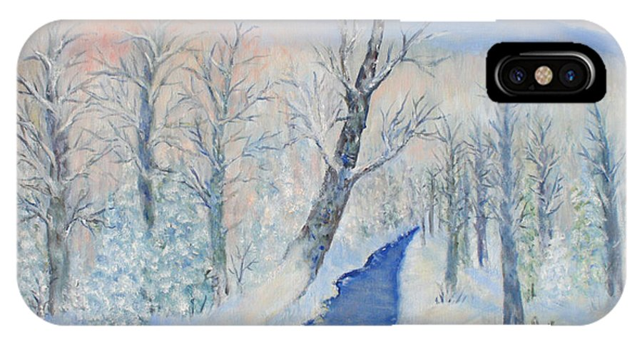 Winter IPhone X Case featuring the painting Winter Sunrise by Ben Kiger