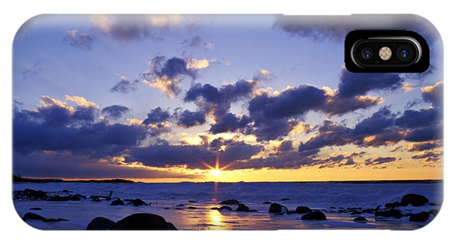 Sunset IPhone X Case featuring the photograph Winter Sunset On Lake Michigan - Fm000053 by Daniel Dempster