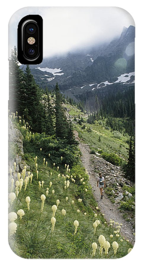 Hikers And Hiking IPhone X / XS Case featuring the photograph Woman Hiking On Sperry Chalet Trail by Skip Brown