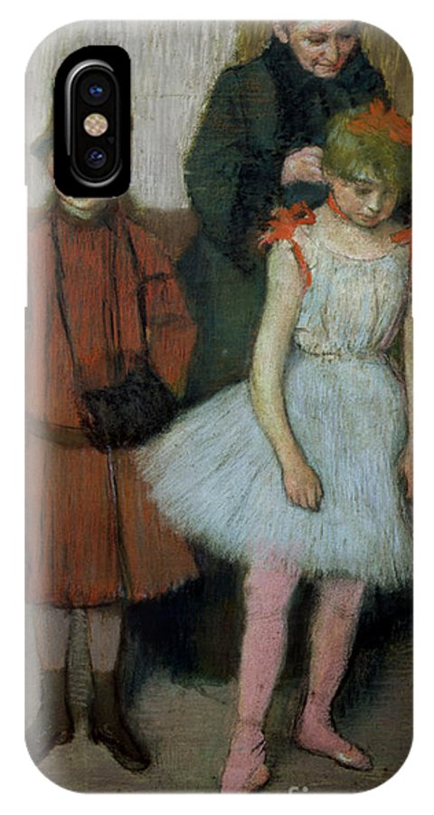 Impressionist; Dancer; Ballerina; Tutu; Muff; Mother And Child; Femme; Fillette; Fillettes IPhone X Case featuring the painting Woman With Two Little Girls by Edgar Degas