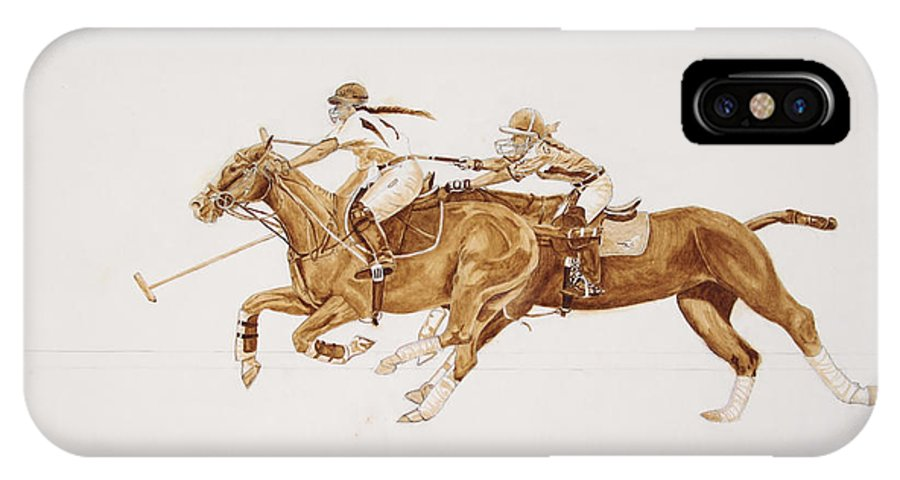 Roena King IPhone X Case featuring the painting Women's Polo Tournament by Roena King