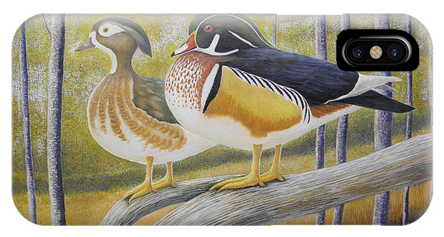 Wood Duck IPhone X / XS Case featuring the painting Wood Duck Pair At The Lake by Alan Suliber