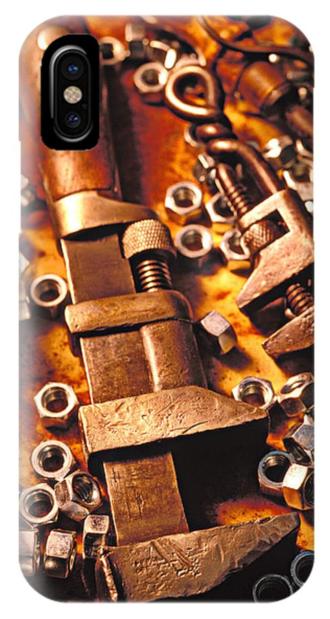 Tool IPhone X / XS Case featuring the photograph Wrench Tools And Nuts by Garry Gay