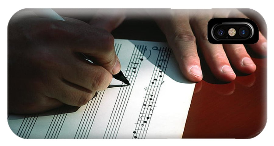 Hands Writing Musical Notes IPhone X Case featuring the photograph Writing Music by Sally Weigand