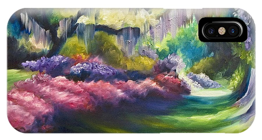 Nature; Lake; Sunset; Sunrise; Serene; Forest; Trees; Water; Ripples; Clearing; Lagoon; James Christopher Hill; Jameshillgallery.com; Foliage; Sky; Realism; Oils; Flowers; Red; Blue; Green; Purple; Wisteria; Oaks; Tree; Azaleas; Path IPhone X Case featuring the painting Wysteria Lane by James Christopher Hill