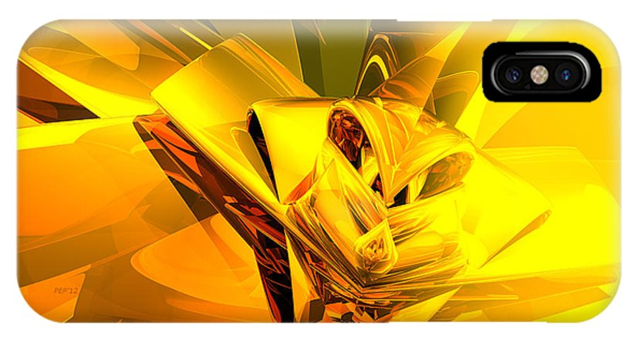 Digital Art IPhone X Case featuring the digital art Yellow Abstract by Phil Perkins