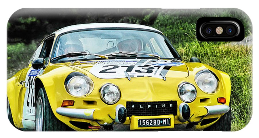Car IPhone X / XS Case featuring the photograph Yellow Alpine Renault by Alain De Maximy