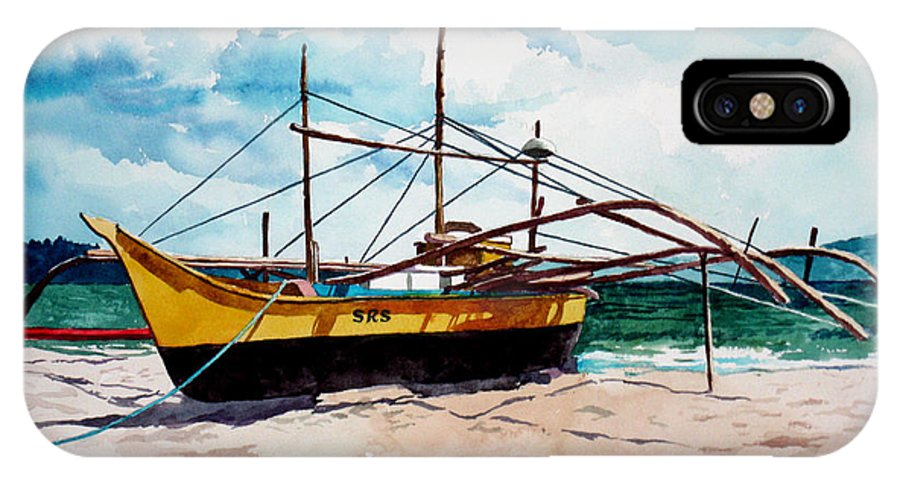 Boat IPhone X Case featuring the painting Yellow Boat Docking On The Shore by Christopher Shellhammer