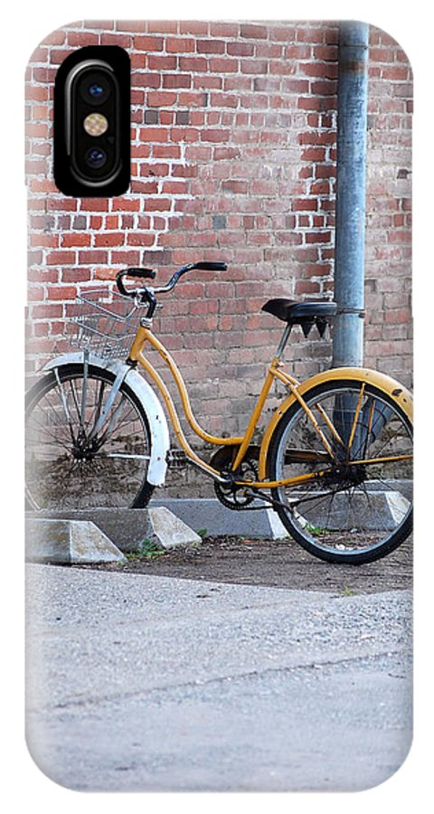 Monk Bicycle Yellow Cruiser Monastery Vina Ca IPhone X Case featuring the photograph Yellow Cruiser by Holly Blunkall
