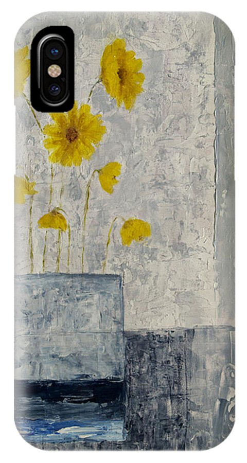 Yellow IPhone X Case featuring the painting Yellow Daisies by JG Keevil