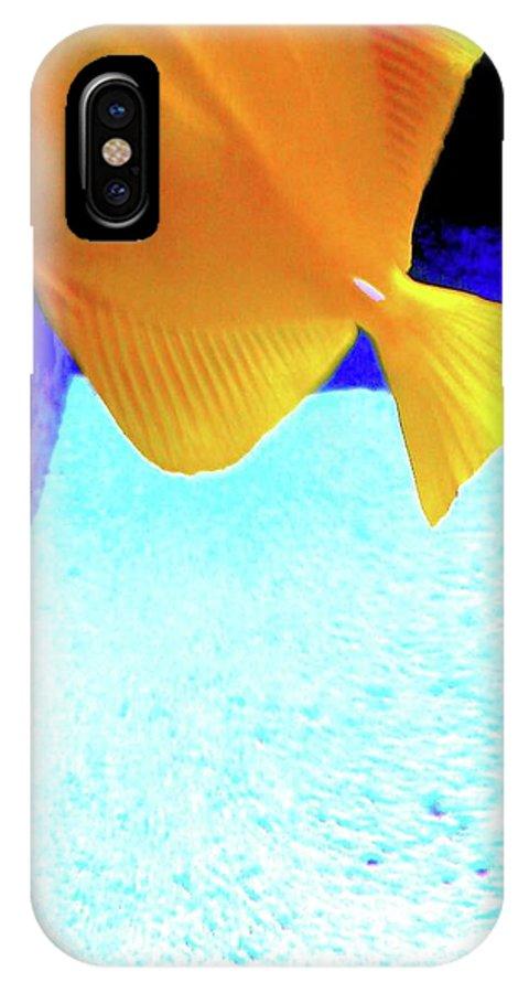 Digital Art IPhone X Case featuring the digital art Yellow Fish Bot 2 by Nina Kaye