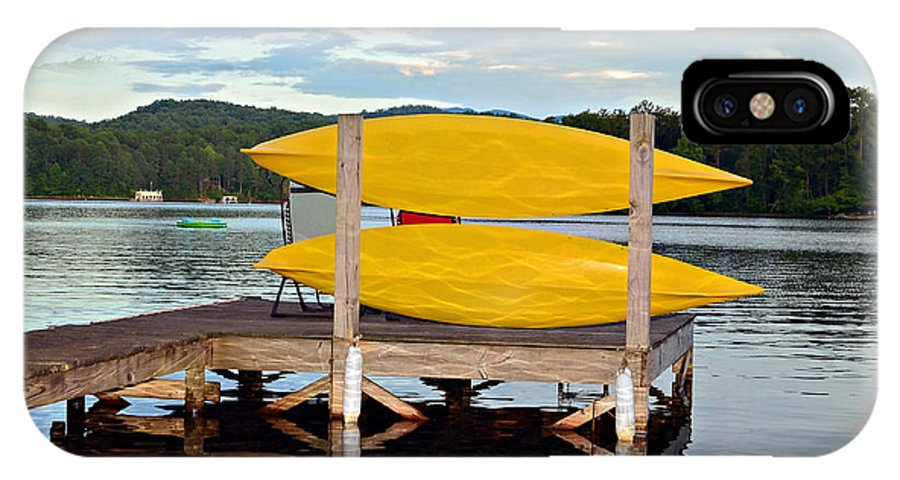 IPhone X Case featuring the photograph Yellow Kayaks by Susan Leggett