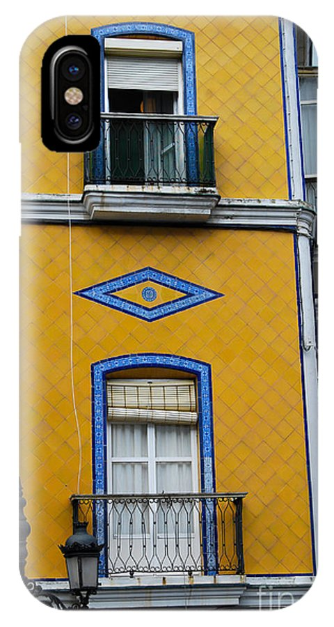 Yellow IPhone X Case featuring the photograph Yellow Tile Building In Cadiz Spain by Eva Kaufman