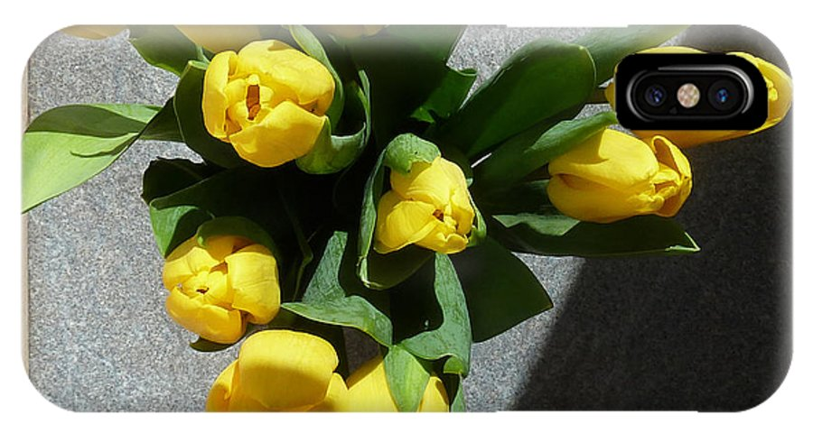 Yellow Tulips In Vase IPhone X Case featuring the photograph Yellow Tulips by Baato