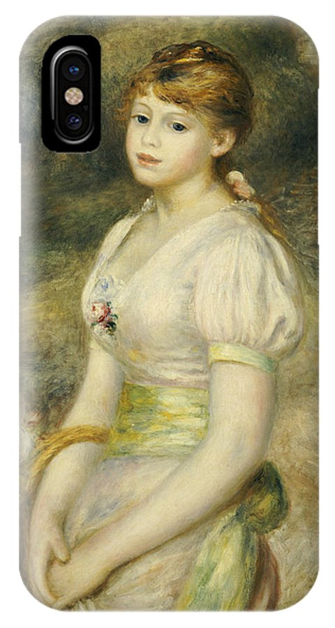 Impressionist; Impressionism; Portrait; Female; Three Quarter Length IPhone X Case featuring the painting Young Girl With A Basket Of Flowers by Pierre Auguste Renoir
