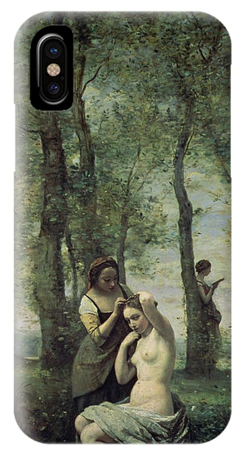 Young Woman At Her Toilet IPhone X Case featuring the painting Young Woman At Her Toilet by Jean Baptiste Camille Corot
