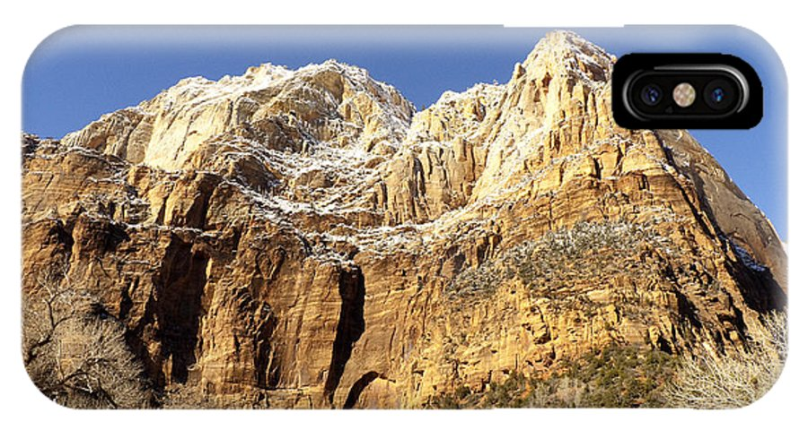 Zion IPhone X Case featuring the photograph Zion Cliffs by Bob and Nancy Kendrick