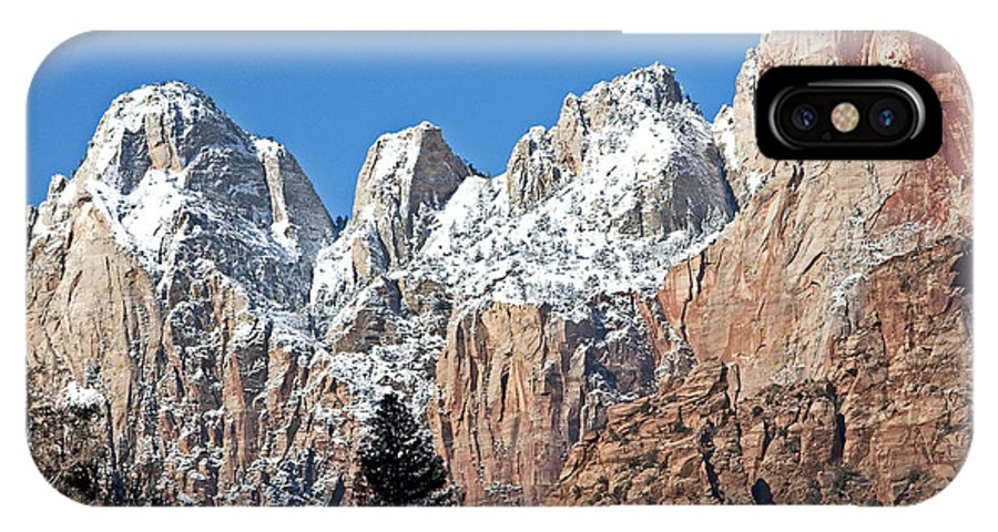 Zion National Park IPhone X Case featuring the photograph Zion Towers by Bob and Nancy Kendrick