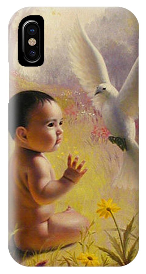 Baby IPhone X Case featuring the painting  Peace  Weaver by Stephen Lucas