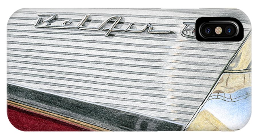 Classic IPhone X Case featuring the drawing 1957 Chevrolet Bel Air Convertible by Rob De Vries