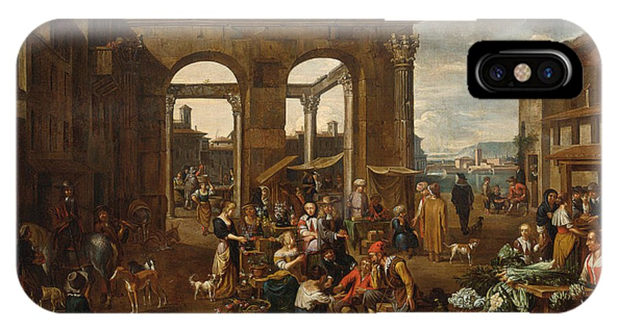 Jan Van Buken - An Italianate Market Scene With Remnants Of A Roman Temple With A Harbour Beyond IPhone X Case featuring the painting An Italianate Market Scene by Celestial Images