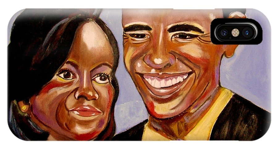Obama IPhone X / XS Case featuring the painting Barak And Michelle Obama  The Power Of Love by Rusty Gladdish