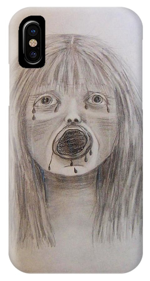 Abuse IPhone X Case featuring the drawing Betrayal by Deahn   Benware