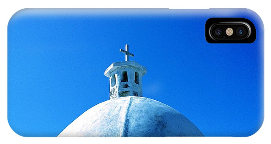 Blue IPhone X Case featuring the photograph Blue Cross by Yelena Tylkina