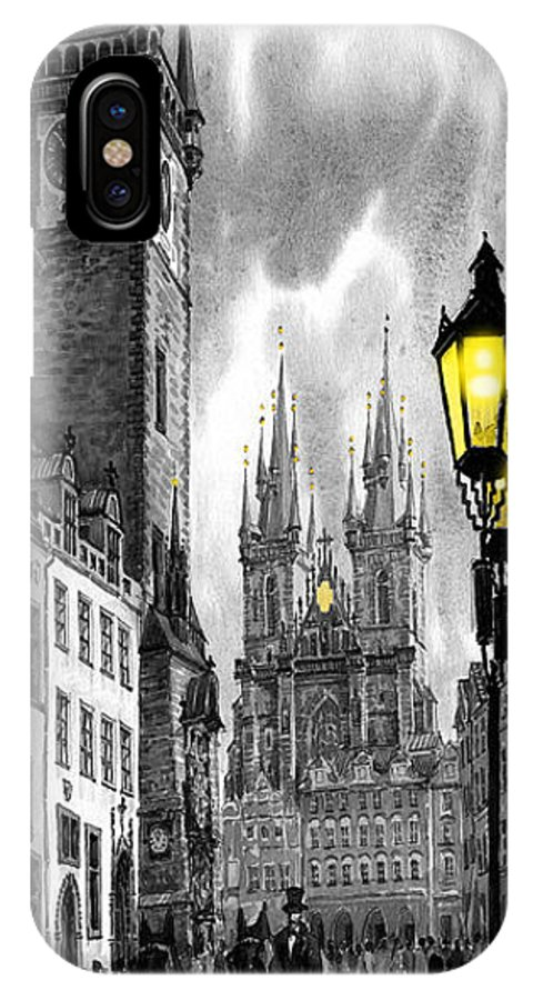 Geelee.watercolour Paper IPhone Case featuring the painting Bw Prague Old Town Squere by Yuriy Shevchuk