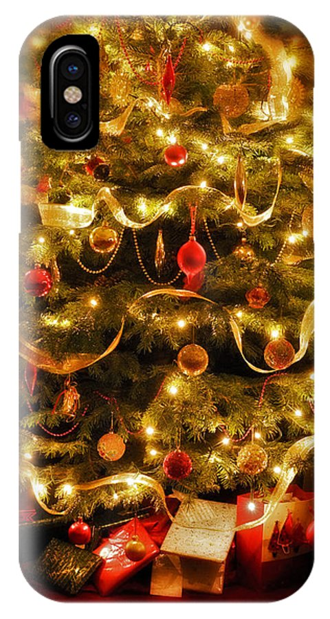Victorian Christmas Tree Xmas Baubles Gifts Presents Decorations Ribbon Pine Needles Fairy Lights IPhone X Case featuring the photograph Christmas Tree by Mal Bray