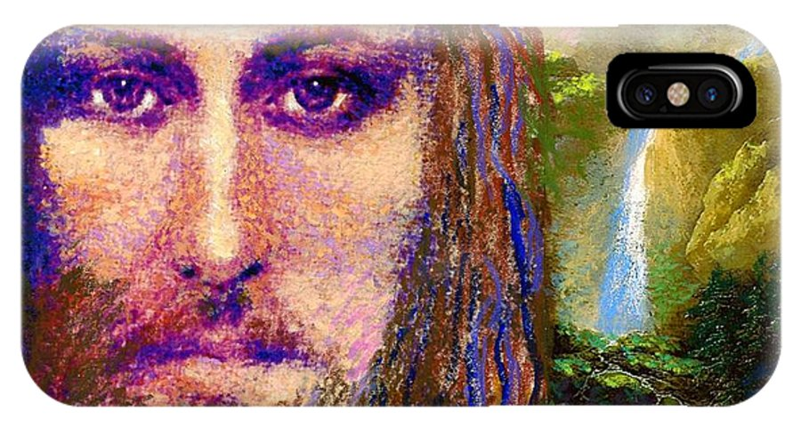 Love IPhone X Case featuring the painting Contemporary Jesus Painting, Chalice Of Life by Jane Small